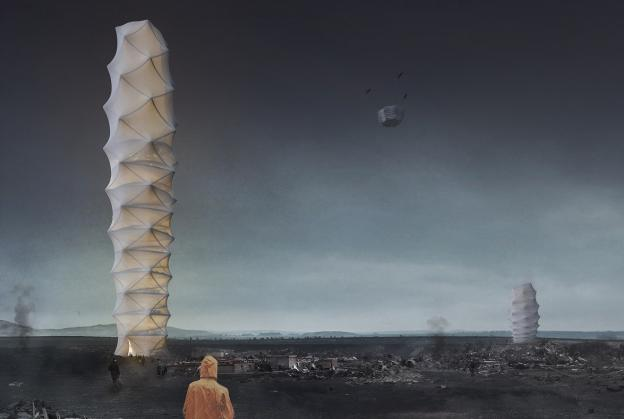 Foldable disaster relief hub wins eVolo skyscraper competition