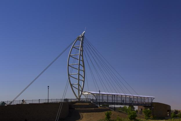 Iconic leaf-shaped bridge opens in Lone Tree